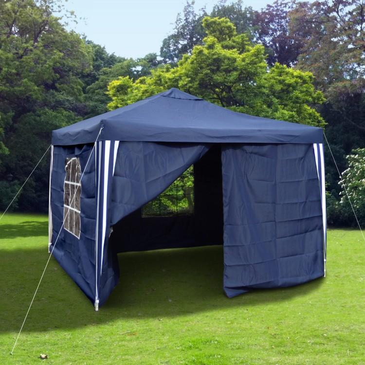 gartenpavillon falt pavillon 3 x 3 m blau weiss seitenteile. Black Bedroom Furniture Sets. Home Design Ideas