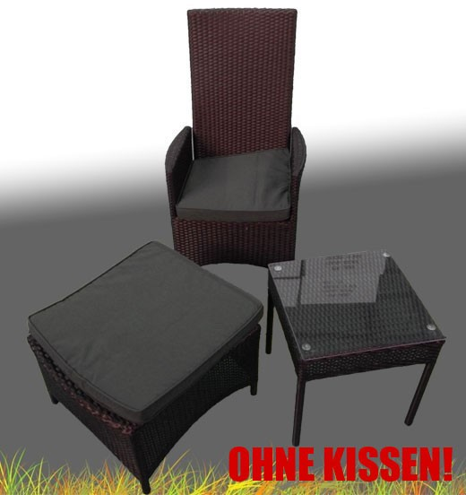 polyrattan sitzgruppe stuhl verstellbar tisch glasplatte hocker ebay. Black Bedroom Furniture Sets. Home Design Ideas