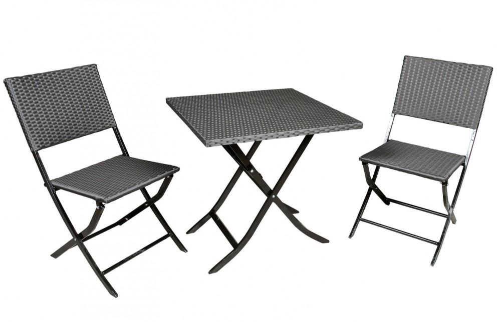 poly rattan bistro sitz gruppe design gartenm bel 2x stuhl tisch klappbar ebay. Black Bedroom Furniture Sets. Home Design Ideas