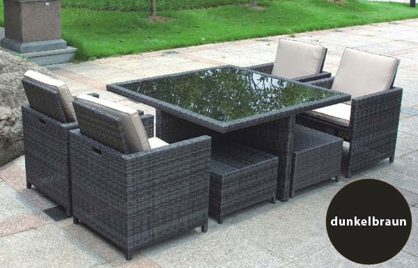 poly rattan tischgruppe design m bel cubic 4 sessel 4 hocker tisch grau eur 699 00. Black Bedroom Furniture Sets. Home Design Ideas
