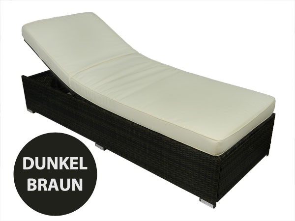 poly rattan outdoor lounge liege strandliege 74x200 dunkel braun ebay. Black Bedroom Furniture Sets. Home Design Ideas
