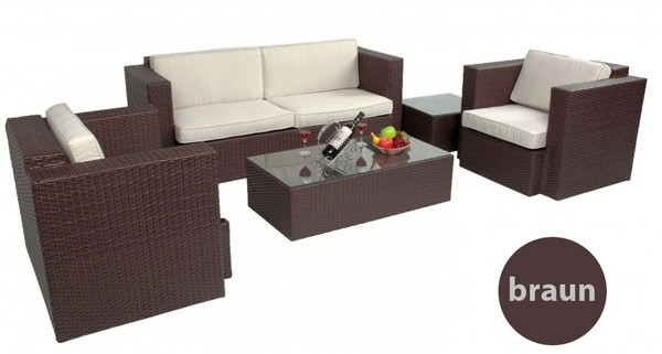 polyrattan braun gartenm bel sitzgruppe lounge 2er sofa 2 sessel 1 tisch hock ebay. Black Bedroom Furniture Sets. Home Design Ideas